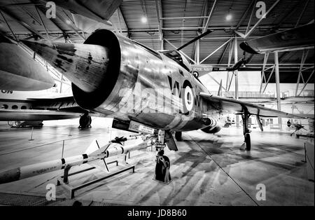 English Electric Lightning F.1 interceptor in Duxford Air Museum. - Stock Photo