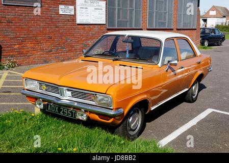 A Vauxhall Viva classic car in a car park - Stock Photo