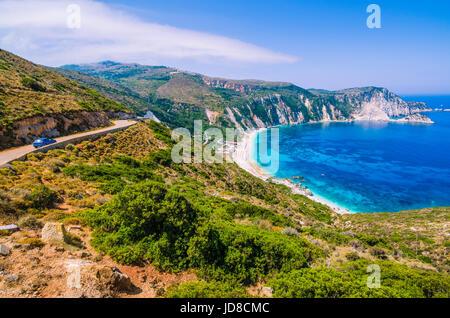 Road to Myrtos Bay and Beach on Kefalonia Island, Greece. - Stock Photo