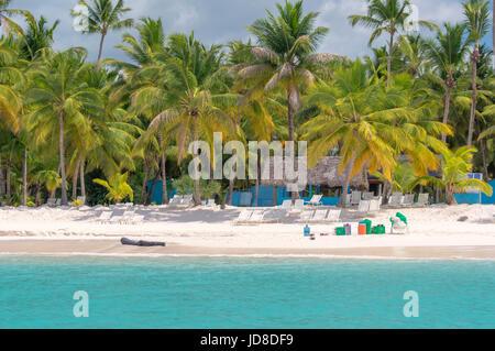 Beach on the Caribbean island of Saona in Dominican Republic. - Stock Photo