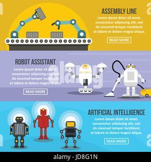 Robot assistant banner horizontal set, flat style - Stock Photo