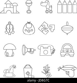 Kindergarten icons set, outline style - Stock Photo