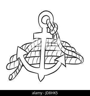 Hand drawn sketch of sea anchor isolated with rope,  Black and White Cartoon Vector Illustration for Coloring Book - Stock Photo