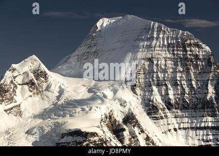 Telephoto of North Face of Mount Robson, Highest Mountain in Rocky Mountains British Columbia Canada - Stock Photo