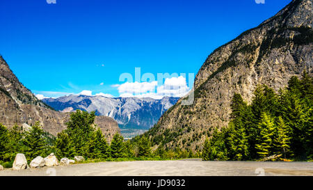 Rugged cliffs of Mount McLean on the north shore of Seton Lake near Lillooet, located along Highway 99, the Duffey - Stock Photo