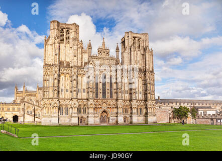 6 June 2017: Wells, Somerset, England, UK - The West Front of Wells Cathedral and Cathedral Green, Wells, Somerset, - Stock Photo