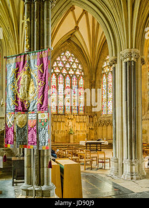 8 June 2017 Wells, UK. Interior of Wells Cathedrai looking towards the Lady Chapel at the East end. - Stock Photo