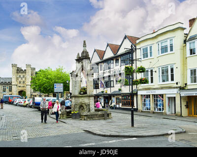 8 June 2017: Wells, Somerset, England, UK - The town centre of the old cathedral city of Wells, with the Market - Stock Photo
