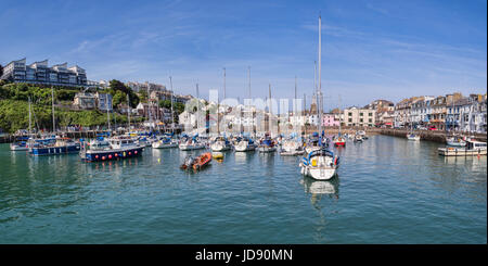 14 June 2017: Ilfracombe, North Devon, UK - Panorama of the inner harbour at Ilfracombe, North Devon. - Stock Photo