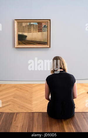 Painting  Approaching a City by Edward Hopper, at exhibition of American art , From Hopper to Rothko at the Barberini - Stock Photo