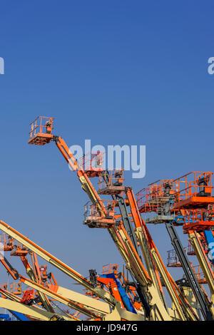Multiple Telescoping Boom Lifts, New Jersey, USA - Stock Photo