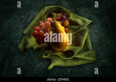 Pear & Grapes Still Life - Stock Photo