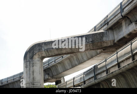 BTS Skytrain Concrete Tracks in Bangkok Thailand - Stock Photo