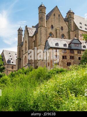 Marburger Schloss, Marburg Castle, aka Landgrafenschloss Marburg, Hesse, Germany, Europe - Stock Photo
