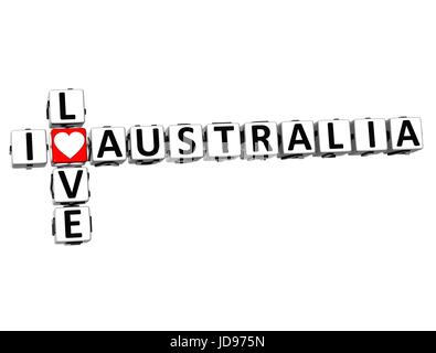 3D I Love Australia Crossword on white background - Stock Photo