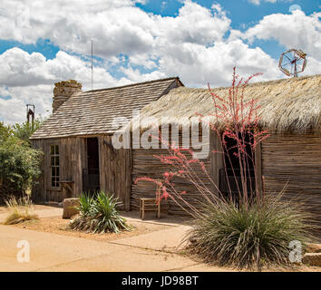 A cabin made of picket and sotol at the National Ranching Heritage Center in Lubbock, Texas - Stock Photo