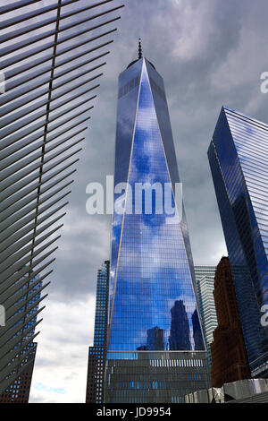 WTC1 skyscraper and blue sky reflection, New York City, New York, USA - Stock Photo
