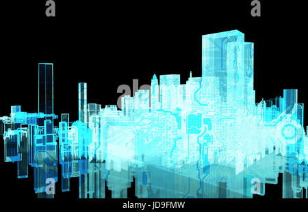 Power grid , smart city energy , electric Energy Distribution chain industry technology concept.  3D rendering of - Stock Photo