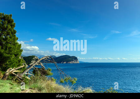 Panoramic landscape in Montenegro. Fantastic view of the Petrovac town bay. Balkans, Adriatic sea, Europe - Stock Photo