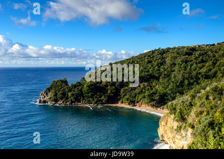 Panoramic landscape of Budva riviera in Montenegro. Fantastic view of the overcast sky. Balkans, Adriatic sea, Europe - Stock Photo