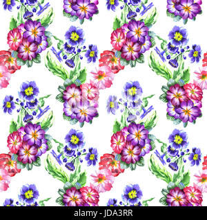 Wildflower viola flower pattern in a watercolor style isolated. Full name of the plant: viola, violet. Aquarelle - Stock Photo