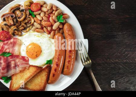 Overhead shot of English breakfast with copyspace - Stock Photo
