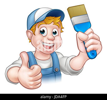A handyman painter decorator cartoon character holding a paintbrush and giving a thumbs up - Stock Photo
