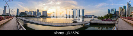 SINGAPORE CITY, SINGAPORE : JUNE 3,2016: Panorama view of Singapore city skyline when sunrise at Marina Bay and - Stock Photo