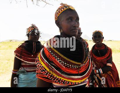 Beautiful Rendille women in their village in northern Kenya. - Stock Photo