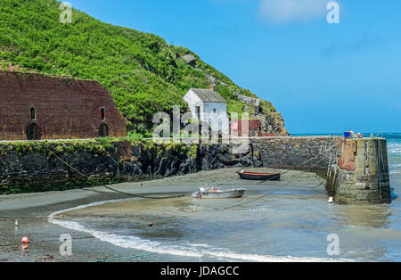 Porthgain Harbour Pembrokeshire Coast National Park. A small harbour once busy shipping out rock and stone and shipping - Stock Photo