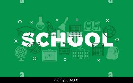 School Concept with icons and signs on green - Stock Photo