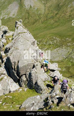 People scrambling on Llech Ddu spur or Crib Lem on Carnedd Dafydd in Carneddau mountains of Snowdonia National Park. - Stock Photo