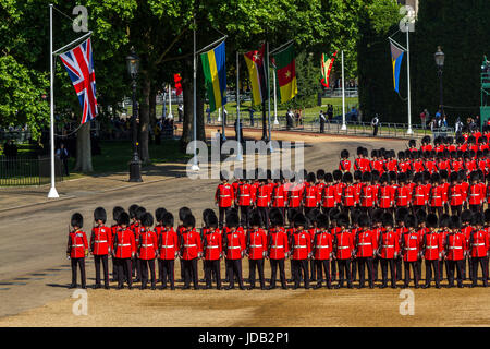 The Irish Guards in formation on Horse Guards at Trooping The Colour / Queens Birthday Parade at Horse Guards Parade, - Stock Photo