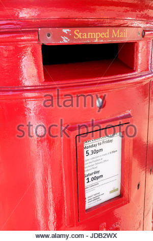 Close up of a British Red Post box, Dorchester, Dorset, England - Stock Photo