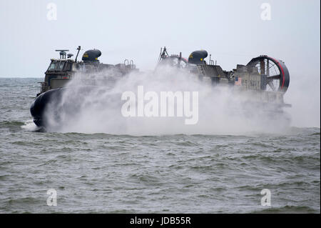 An American Landing Craft Air Cushion LCAC 86 during the 45th edition of Exercise BALTIC OPERATIONS  BALTOPS 2017 - Stock Photo
