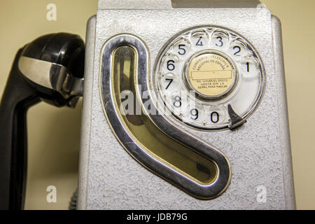 Old spanish public telephone booth used from 1960 to 1980 - Stock Photo