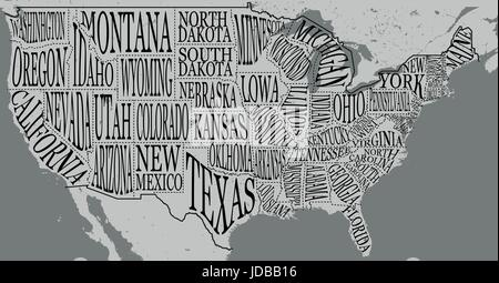 Hand drawn illustration of USA map with hand lettering names of states and tourist attractions. Travel to USA concept. - Stock Photo