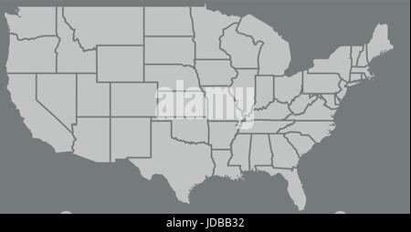 Blank similar high detailed USA map isolated on gray background. United States of America country with state borders. - Stock Photo