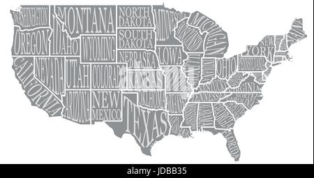 Blank similar high detailed decorative USA map on white background. United States of America country with lettering - Stock Photo