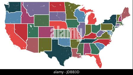 Blank similar, decorative USA map isolated white background. United States of America country with different colour - Stock Photo