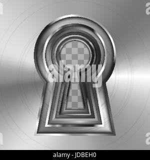 Keyholes in bright glossy metal plate on transparent background - Stock Photo