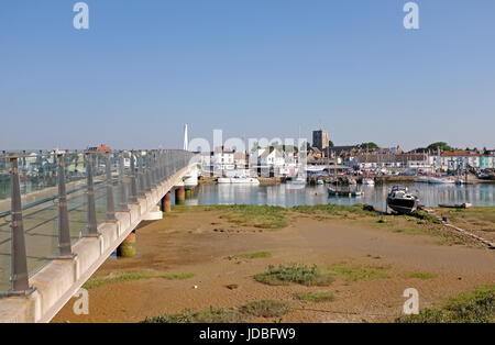 Shoreham Beach Sussex UK - View from Shoreham Beach across River Adur to the town of Shoreham-by-sea with the footbridge - Stock Photo