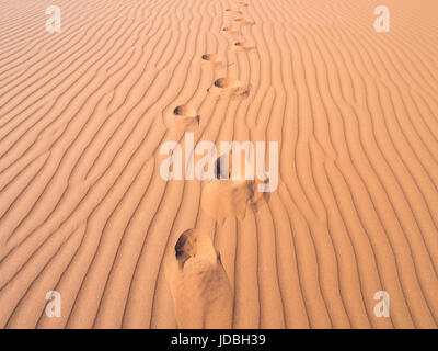 Footprints on a dune on the Namib Desert, Namibia. Close up. - Stock Photo