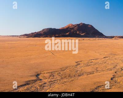 Landscape ion the Namib Desert n Namib-Naukluft National Park, Namibia, Africa, at sunset. - Stock Photo