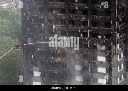 Grenfell Tower, the 27-storey tower block which was engulfed in a huge fire in west London, England, UK - Stock Photo