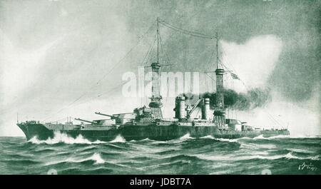 USS Colorado (ACR-7) (Later renamed Pueblo) 1917 illustration - Stock Photo