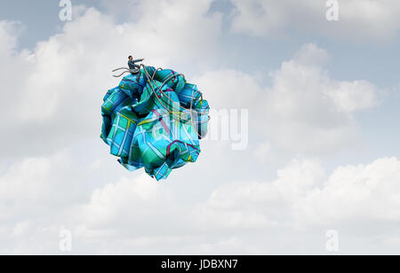 Navigation control concept as a businessman on crumpled road direction paper as a leadership metaphor for taking - Stock Photo