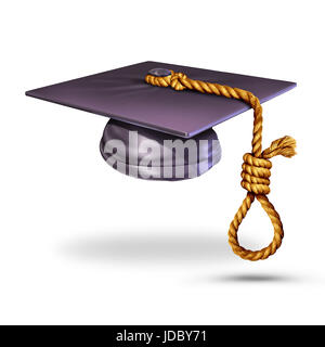 Education suicide concept and learning to prevent suicides symbol as a graduation cap or mortar board with a tassle - Stock Photo