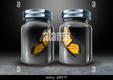 Barriers to communication and physical barrier concept as two butterflies in seperate closed glass as a jars as - Stock Photo