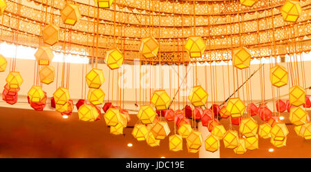 Interior decoration by paper lantern, Laltain lights for Diwali Hindus indian festival - Stock Photo